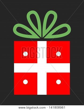 Bright festive gift. Christmas packing. Surprise to the party. Vector illustration