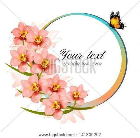 Holiday background with beauty flowers and butterfly. Vector