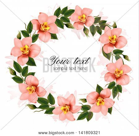 Wreath of beautiful pink orchids. Vector.