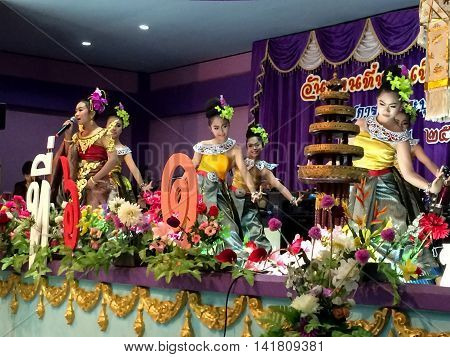 PHITSANULOK THAILAND - SEPTEMBER 24: The famous Thai Culture and traditional dances show in Chumchon wat ban dong school on September 24 2015 in Phitsanulok Thailand.