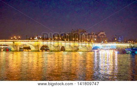 Paris cityscape at night.