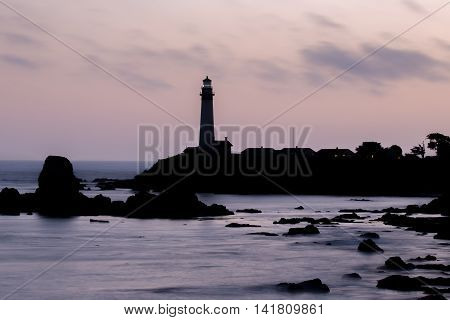 Pink Skies and Seascapes Silhouettes. Pigeon Point Lighthouse, Pescadero, California, USA
