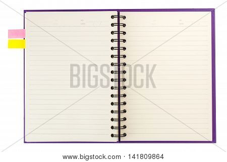 Open Notebook  And Notpaper Isolated On White