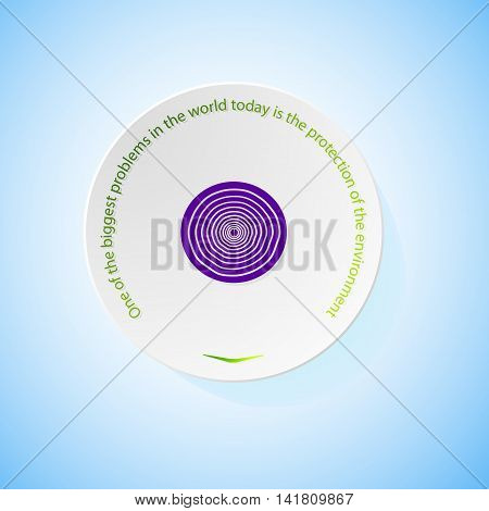 Environmental icons depicting onion with shadow, abstract vector illustration