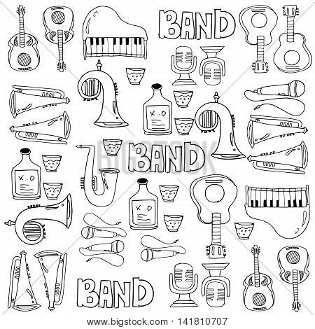 Doodle music with hand draw collection stock vector