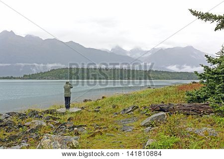 Looking for Wildlife on a Cloudy Day in Chilkat State Park in Alaska