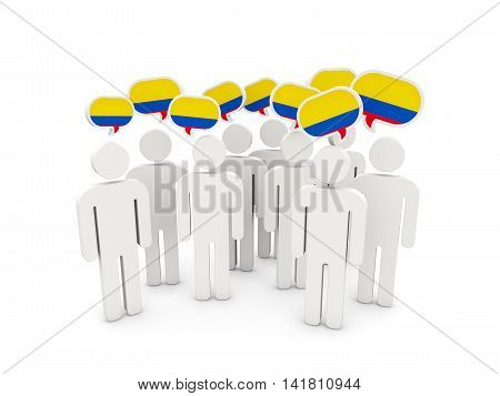 People With Flag Of Colombia