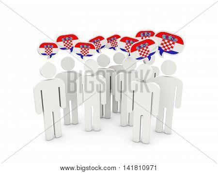 People With Flag Of Croatia