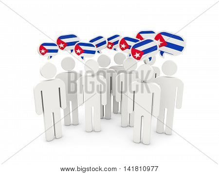 People With Flag Of Cuba