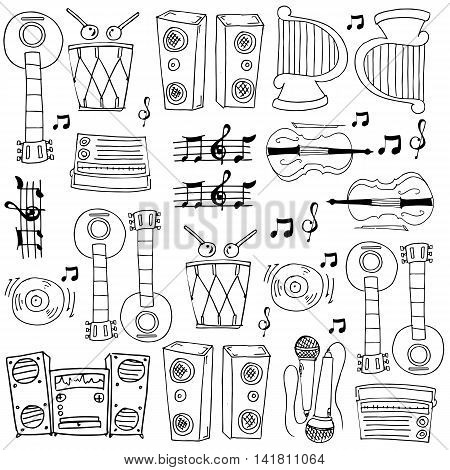 Doodle of music theme vector art collection stock