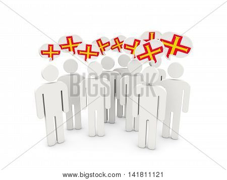 People With Flag Of Guernsey