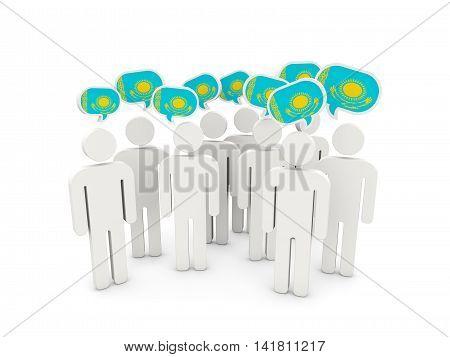 People With Flag Of Kazakhstan