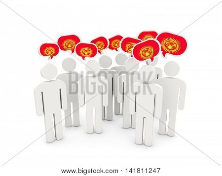 People With Flag Of Kyrgyzstan