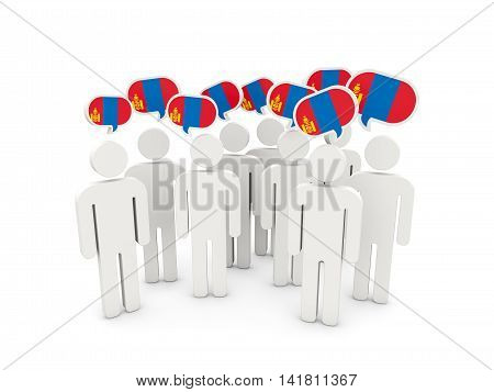 People With Flag Of Mongolia