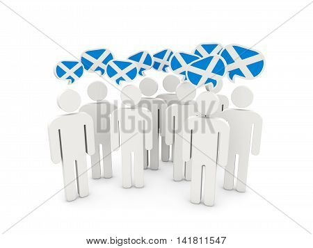 People With Flag Of Scotland