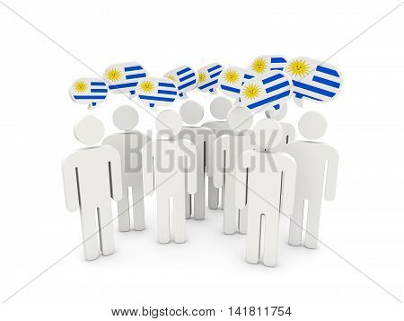 People With Flag Of Uruguay