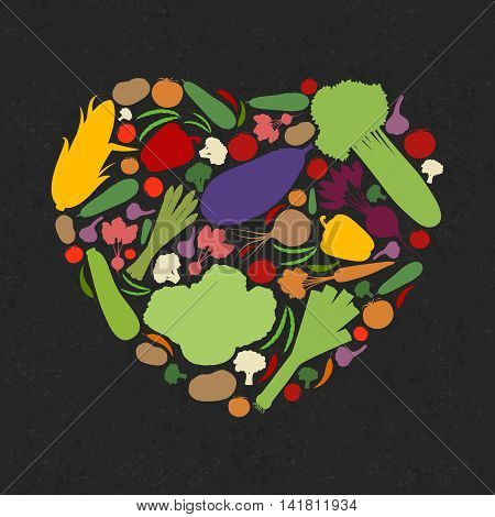 Vector illustration of heart consists of vegetables on dark grungy background. Fully editable file for a packaging design, poster, t-shirt design and your other projects.
