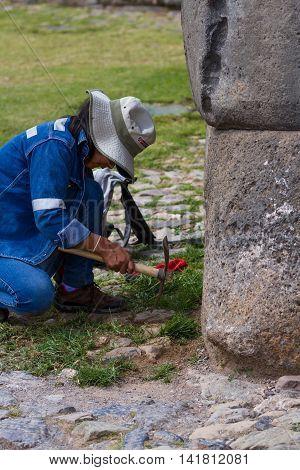 Hard Working Woman In Peru