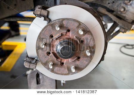 front disk brake on car after rebuild surface