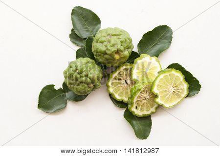 bergamot or lime nature herbal nourish on background white