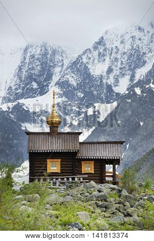 Church on Akkem Valley, Altai Mountains, Russian Federation
