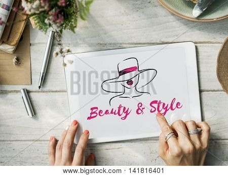 Beauty Style Girl Model Silhouette Text Concept