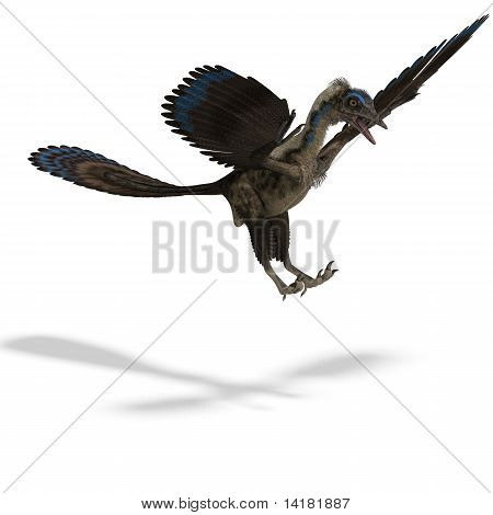 Dinosaur Archaeopteryx. 3D rendering with clipping path and shadow over white poster