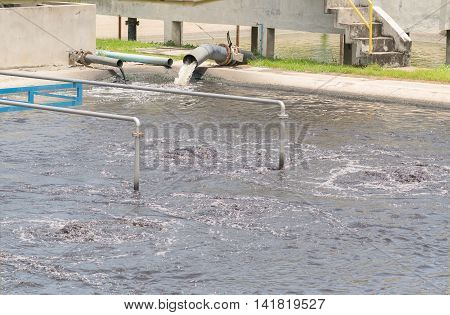 Wastewater Treatment Plant Aerating Basin.