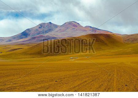 View of mountain and desert in Salar de Uyuni Bolivia