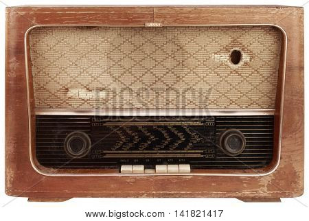 Old Wooden Radio Tuner Cutout