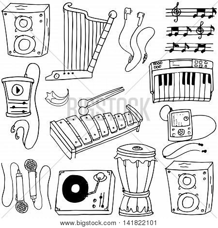 Doodle of music object theme stock collection