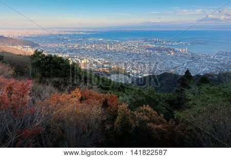 View Of Several Japanese Cities In The Kansai Region From Mt. Maya. The View Is Designated A