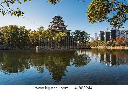 Hiroshima Castle with reflection in Hiroshima Japan