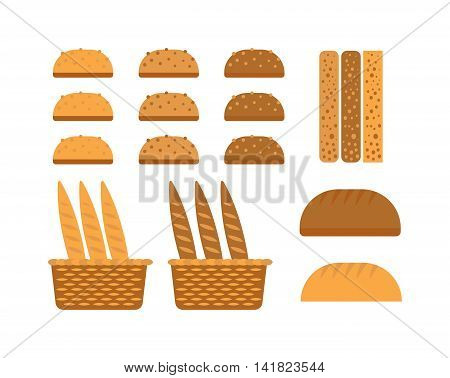 Bread, bakery products, color vector design elements. Tasty cutting bread products seed eating group. Breakfast organic bakery bread products food, wheat loaf rye food cooking dough.