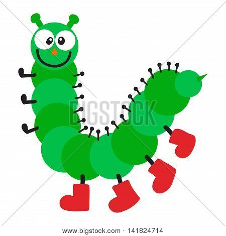 Cute hand drawn crawling caterpillar tree insect element funny little bug. Nature larva caterpillar wildlife bug vector illustration. Cartoon caterpillars cute character different animal worm.