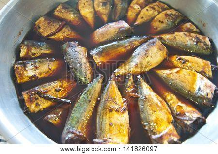 Mackerel soak in syruplocal food of Thailand