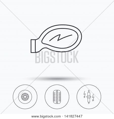 Wheel, car mirror and spark plug icons. Tire tread linear sign. Linear icons in circle buttons. Flat web symbols. Vector