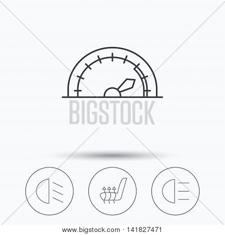Speedometer, passing fog lights and heated seat icons. High beams linear sign. Linear icons in circle buttons. Flat web symbols. Vector