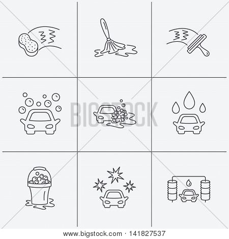 Car wash icons. Automatic cleaning station linear signs. Washing windows, sponge and foam bucket flat line icons. Linear icons on white background. Vector