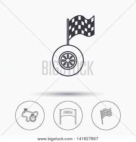 Finish flag, race timer and wheel icons. Race track linear sign. Linear icons in circle buttons. Flat web symbols. Vector