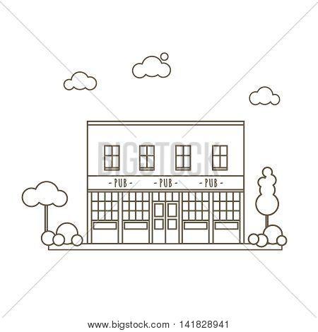 Old Pub Building Flat Style Line Vector Illustration