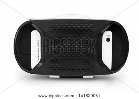 Virtual Reality glasses with smartphone, isolated on white background. Gadget for simulation physical presence and environment for user interaction