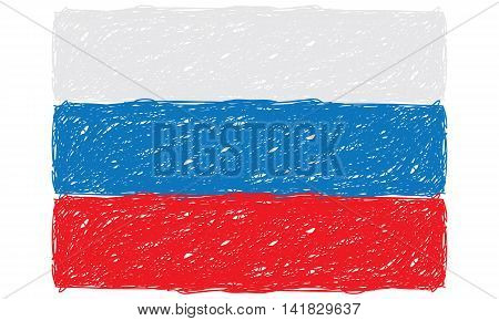 Flat and Waving Hand Draw Sketch Flag of Russia Country