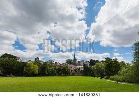 Ross-on-Wye Wye Valley Herefordshire England uk park view towards St Mary`s church landmark