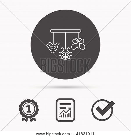 Baby toys icon. Butterfly, ladybug and bird sign. Entertainment for newborn symbol. Report document, winner award and tick. Round circle button with icon. Vector