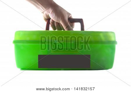green toolbox in a man's hand on white