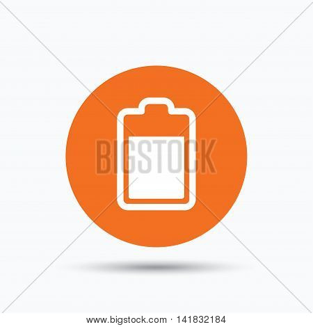 Battery power icon. Charging accumulator symbol. Orange circle button with flat web icon. Vector