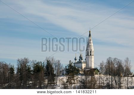 Beautiful Chirch And Blue Sky In A Winter Day