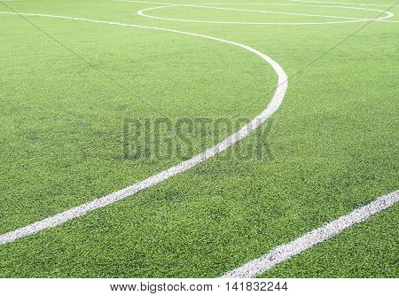 Soccer Field, Center And Sideline, Made From Synthetic Lawn,selective Focus