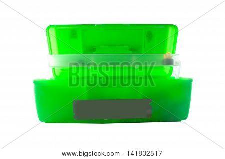 green mechanic's basic tool box on white